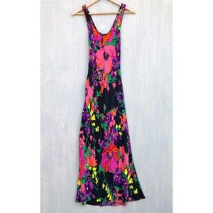 Vintage 90s Betsey Johnson floral maxi dress L